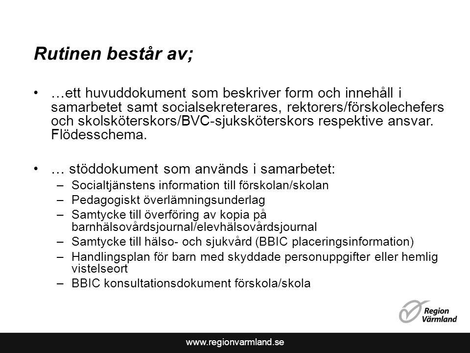 www.regionvarmland.se Rutinen består av; …ett huvuddokument som beskriver form och innehåll i samarbetet samt socialsekreterares, rektorers/förskolech
