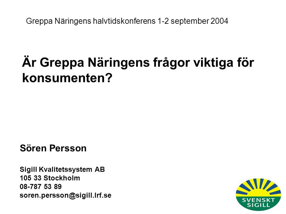 11.Jag oroar mig för att svenska bönders produkter kan innehålla spår av olika tungmetaller som ex kadmium I2.Jag oroar mig för att svenska bönders produkter kan innehålla spår av bekämpningsmedel I3.Jag oroar mig för att svenska bönders produkter kan vara genmodifierade I4.Jag oroar mig för att de svenska böndernas användning av läkemedel till djur kan skapa motståndskraftiga/resistenta bakterier I5.Jag oroar mig för att de svenska böndernas produkter kan innehålla spår av läkemedelsrester I6.Jag oroar mig för att livsmedelsproducenterna tillsätter onödiga tillsatser i maten I7.Jag oroar mig för att produkterna från de svenska bönderna inte är tillräckligt rena och naturliga I8.Jag oroar mig för att de svenska böndernas produkter kan innehålla salmonella Viktigt Betyg