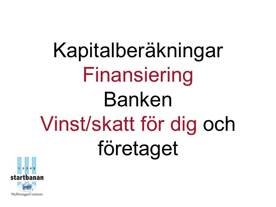 Kapitalberäkningar Finansiering Banken Vinst/skatt för dig och företaget