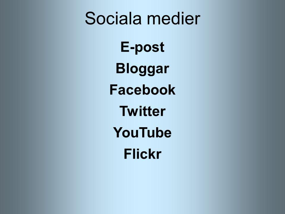 Sociala medier E-post Bloggar Facebook Twitter YouTube Flickr