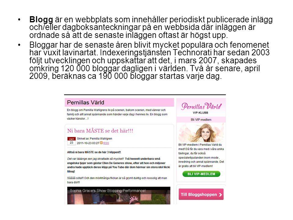 Blogg är en webbplats som innehåller periodiskt publicerade inlägg och/eller dagboksanteckningar på en webbsida där inläggen är ordnade så att de sena