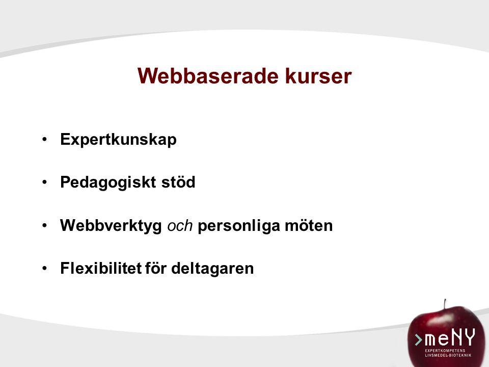 Webbaserade kurser Expertkunskap Pedagogiskt stöd Webbverktyg och personliga möten Flexibilitet för deltagaren
