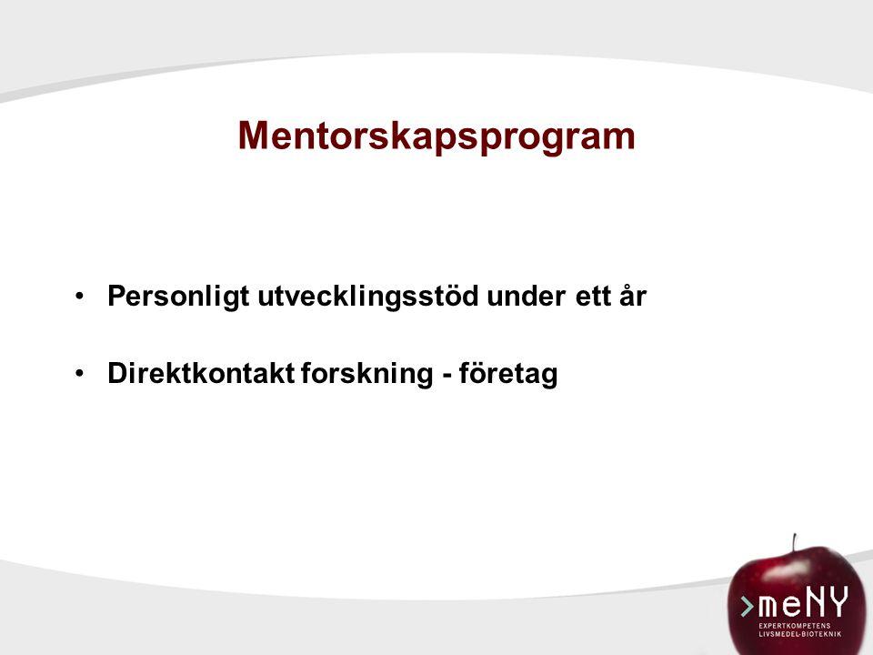 Mentorskapsprogram Personligt utvecklingsstöd under ett år Direktkontakt forskning - företag