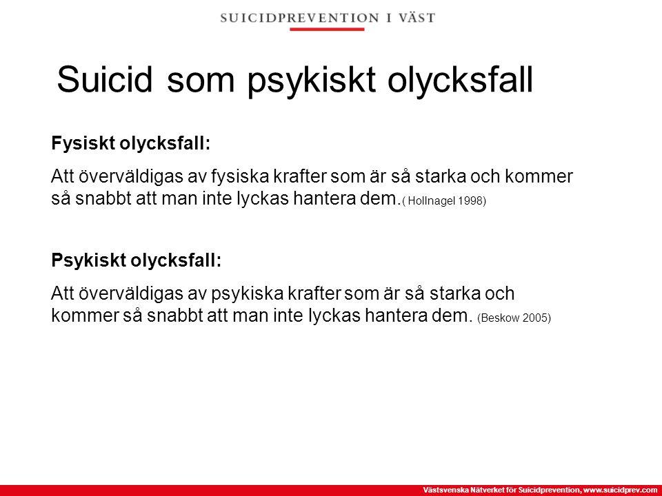 Västsvenska Nätverket för Suicidprevention, www.suicidprev.com Suicid som psykiskt olycksfall Fysiskt olycksfall: Att överväldigas av fysiska krafter