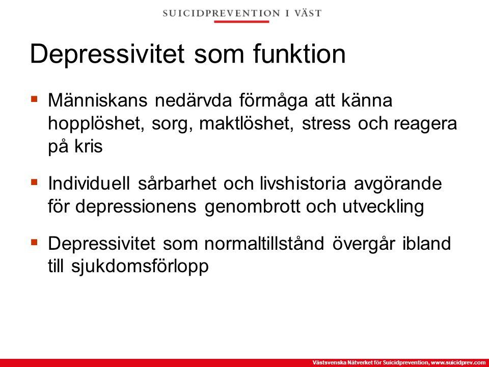 Västsvenska Nätverket för Suicidprevention, www.suicidprev.com Depressivitet som funktion  Människans nedärvda förmåga att känna hopplöshet, sorg, ma