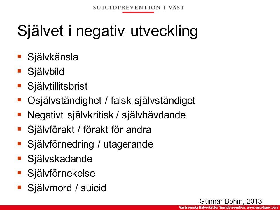 Västsvenska Nätverket för Suicidprevention, www.suicidprev.com Självet i negativ utveckling  Självkänsla  Självbild  Självtillitsbrist  Osjälvstän