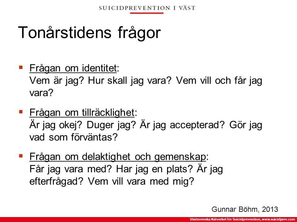 Västsvenska Nätverket för Suicidprevention, www.suicidprev.com Tonårstidens frågor  Frågan om identitet: Vem är jag? Hur skall jag vara? Vem vill och