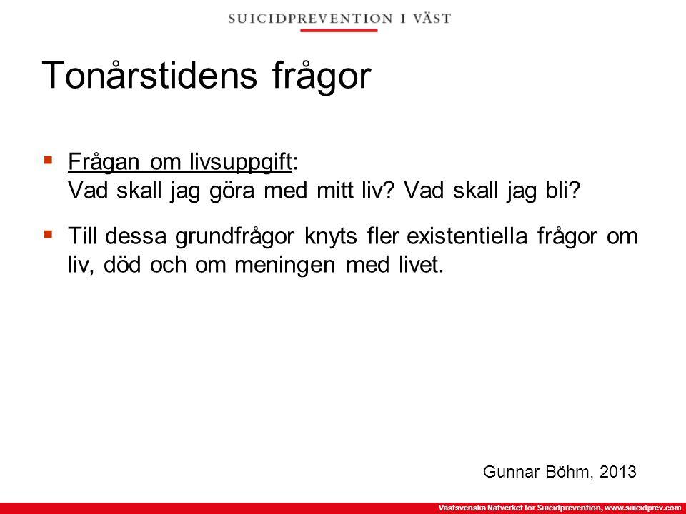 Västsvenska Nätverket för Suicidprevention, www.suicidprev.com Tonårstidens frågor  Frågan om livsuppgift: Vad skall jag göra med mitt liv? Vad skall