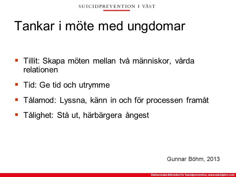 Västsvenska Nätverket för Suicidprevention, www.suicidprev.com Tankar i möte med ungdomar  Tillit: Skapa möten mellan två människor, vårda relationen
