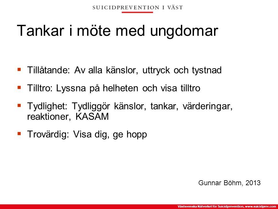 Västsvenska Nätverket för Suicidprevention, www.suicidprev.com Tankar i möte med ungdomar  Tillåtande: Av alla känslor, uttryck och tystnad  Tilltro