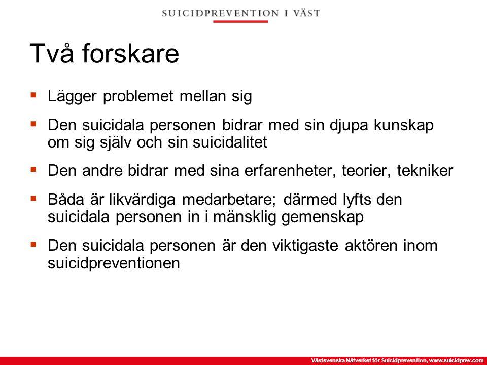 Västsvenska Nätverket för Suicidprevention, www.suicidprev.com Två forskare  Lägger problemet mellan sig  Den suicidala personen bidrar med sin djup