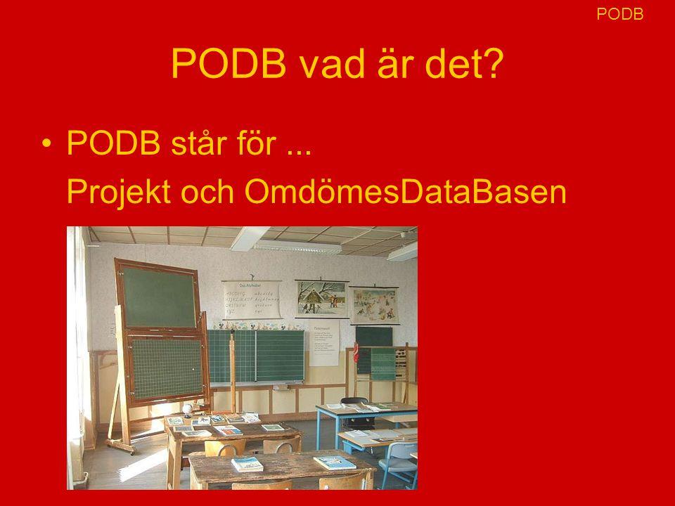 PODB vad är det? PODB står för... Projekt och OmdömesDataBasen PODB