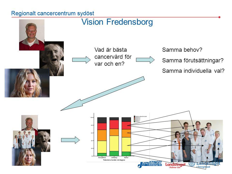 Vision Fredensborg Samma behov? Samma förutsättningar? Samma individuella val? Vad är bästa cancervård för var och en?