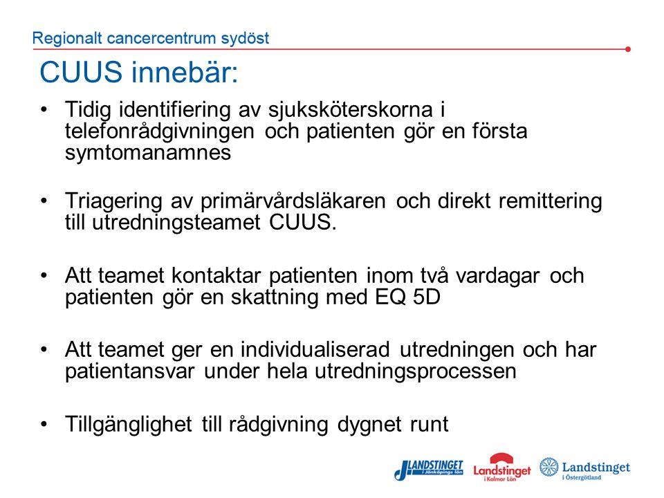 CUUS innebär: Tidig identifiering av sjuksköterskorna i telefonrådgivningen och patienten gör en första symtomanamnes Triagering av primärvårdsläkaren