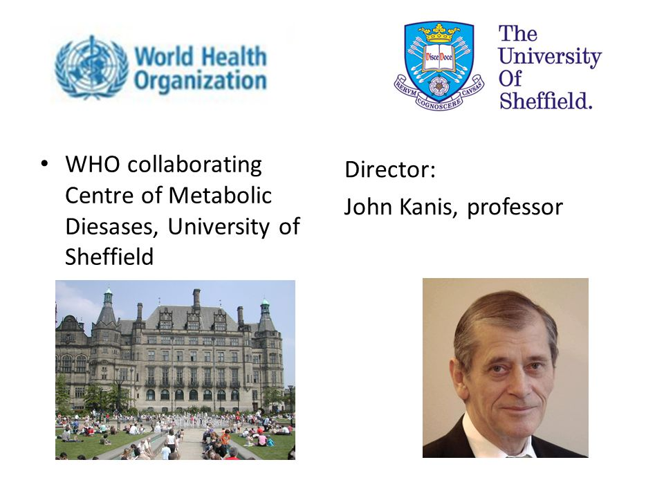 WHO collaborating Centre of Metabolic Diesases, University of Sheffield Director: John Kanis, professor