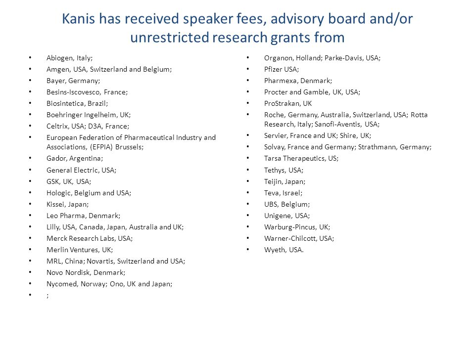 Kanis has received speaker fees, advisory board and/or unrestricted research grants from Abiogen, Italy; Amgen, USA, Switzerland and Belgium; Bayer, G