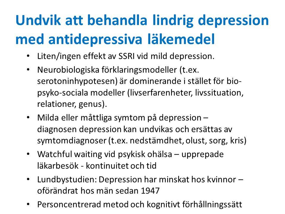 Undvik att behandla lindrig depression med antidepressiva läkemedel Liten/ingen effekt av SSRI vid mild depression.