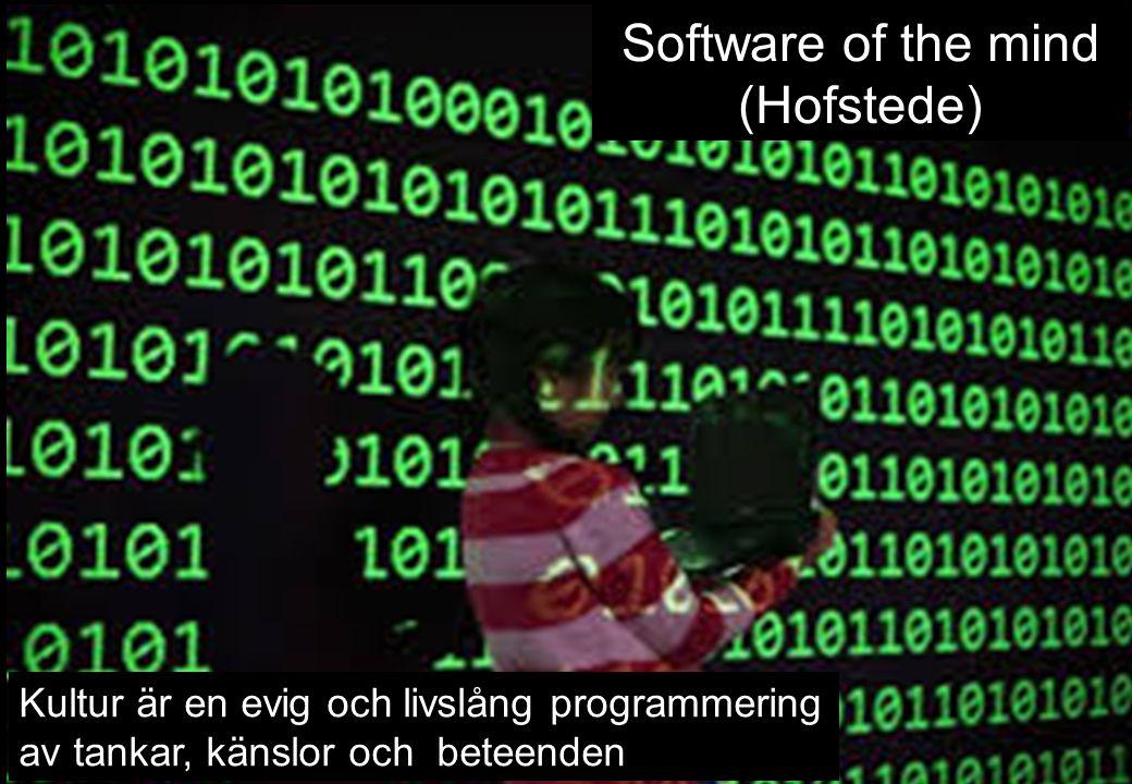 5 Kultur är en evig och livslång programmering av tankar, känslor och beteenden Software of the mind (Hofstede)
