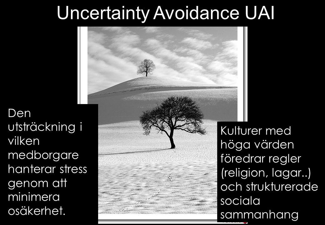 Kulturer med höga värden föredrar regler (religion, lagar..) och strukturerade sociala sammanhang Uncertainty Avoidance UAI Den utsträckning i vilken medborgare hanterar stress genom att minimera osäkerhet.