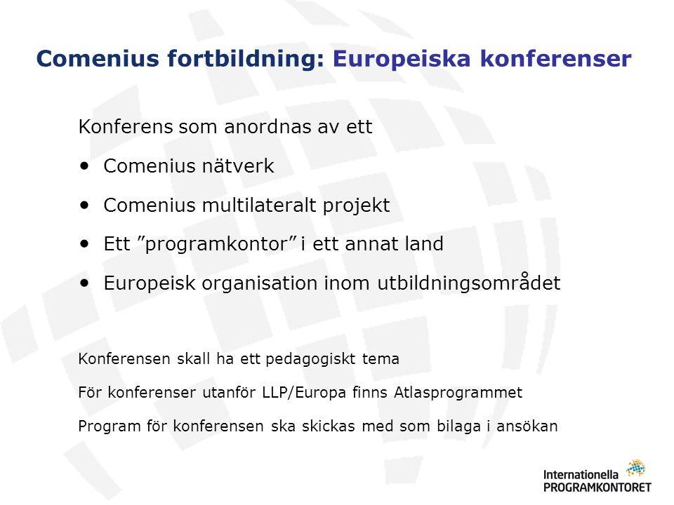 """Comenius fortbildning: Europeiska konferenser Konferens som anordnas av ett Comenius nätverk Comenius multilateralt projekt Ett """"programkontor"""" i ett"""