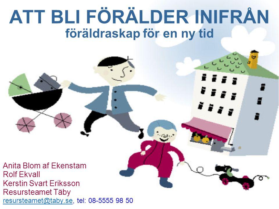 ATT BLI FÖRÄLDER INIFRÅN föräldraskap för en ny tid Anita Blom af Ekenstam Rolf Ekvall Kerstin Svart Eriksson Resursteamet Täby resursteamet@taby.seresursteamet@taby.se, tel: 08-5555 98 50