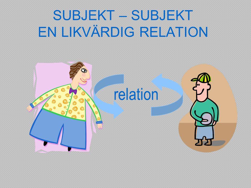 SUBJEKT – SUBJEKT EN LIKVÄRDIG RELATION relation