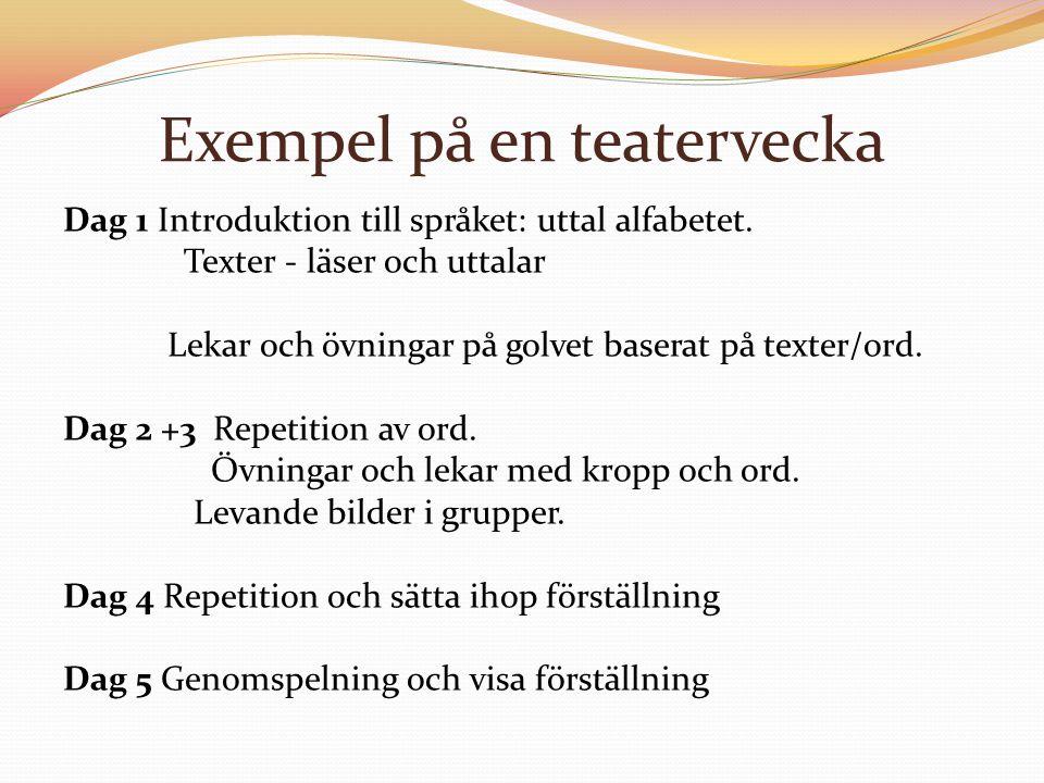 Exempel på en teatervecka Dag 1 Introduktion till språket: uttal alfabetet. Texter - läser och uttalar Lekar och övningar på golvet baserat på texter/