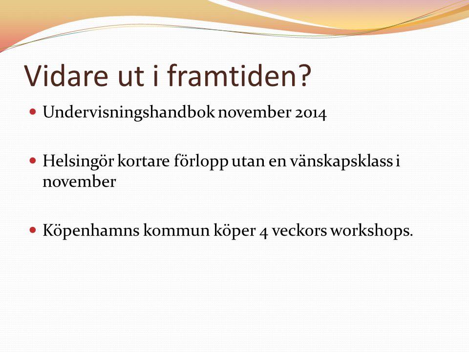 Vidare ut i framtiden? Undervisningshandbok november 2014 Helsingör kortare förlopp utan en vänskapsklass i november Köpenhamns kommun köper 4 veckors
