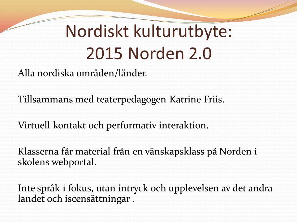 Nordiskt kulturutbyte: 2015 Norden 2.0 Alla nordiska områden/länder. Tillsammans med teaterpedagogen Katrine Friis. Virtuell kontakt och performativ i