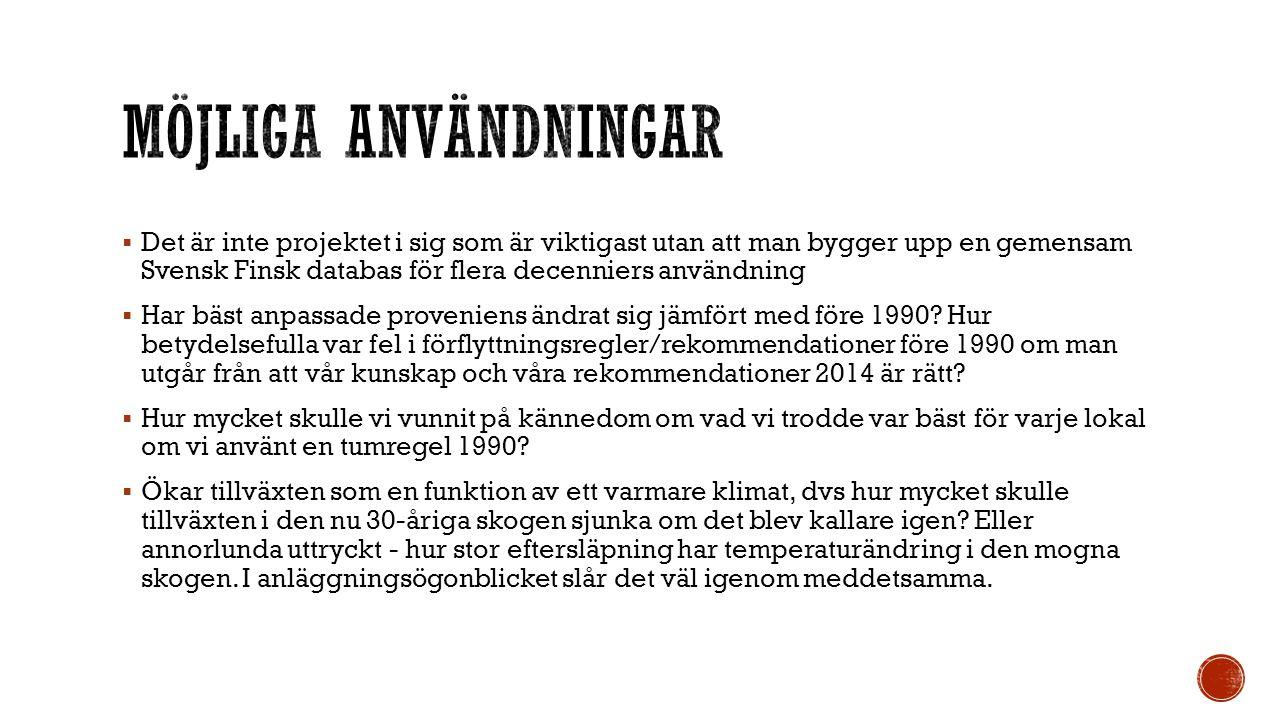  Det är inte projektet i sig som är viktigast utan att man bygger upp en gemensam Svensk Finsk databas för flera decenniers användning  Har bäst anpassade proveniens ändrat sig jämfört med före 1990.
