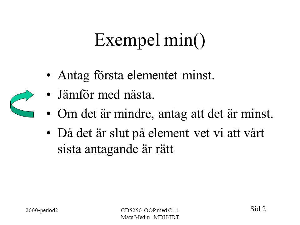 Sid 2 2000-period2CD5250 OOP med C++ Mats Medin MDH/IDT Exempel min() Antag första elementet minst.