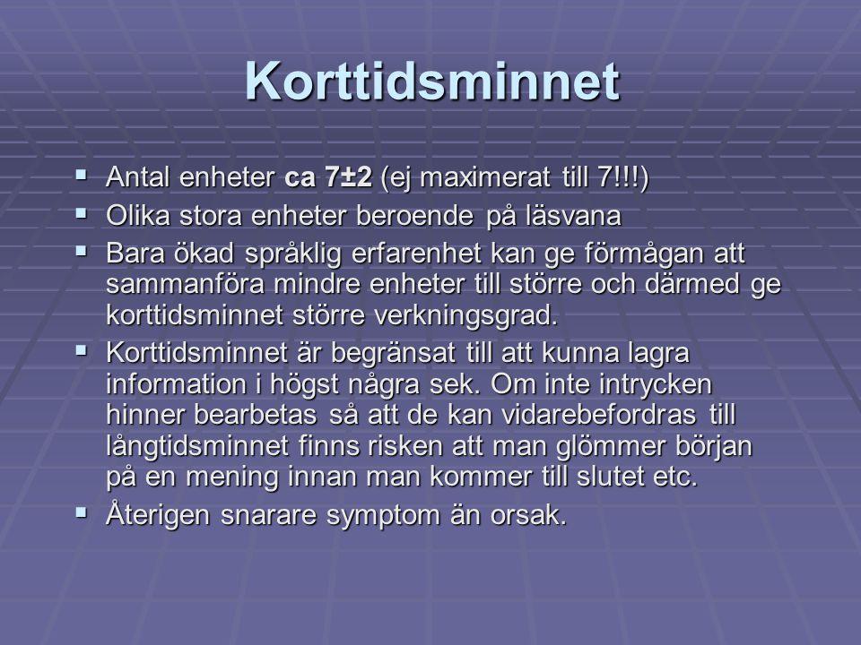 Korttidsminnet  Antal enheter ca 7±2 (ej maximerat till 7!!!)  Olika stora enheter beroende på läsvana  Bara ökad språklig erfarenhet kan ge förmåg