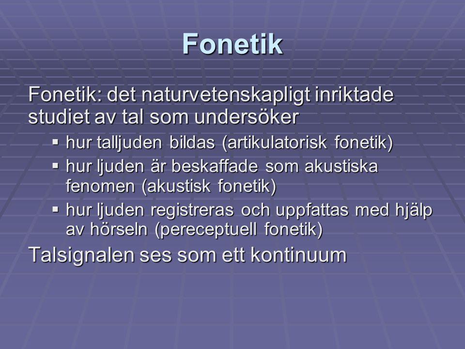Fonetik Fonetik: det naturvetenskapligt inriktade studiet av tal som undersöker  hur talljuden bildas (artikulatorisk fonetik)  hur ljuden är beskaf