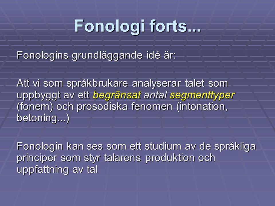 Fonologi forts... Fonologins grundläggande idé är: Att vi som språkbrukare analyserar talet som uppbyggt av ett begränsat antal segmenttyper (fonem) o
