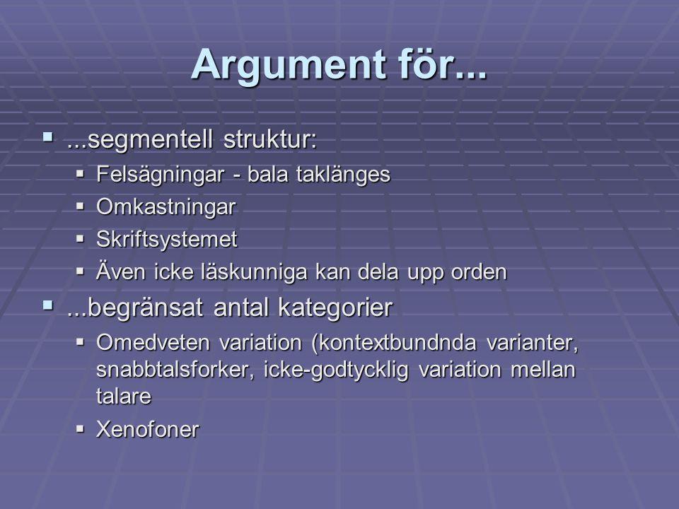 Argument för... ...segmentell struktur:  Felsägningar - bala taklänges  Omkastningar  Skriftsystemet  Även icke läskunniga kan dela upp orden ..