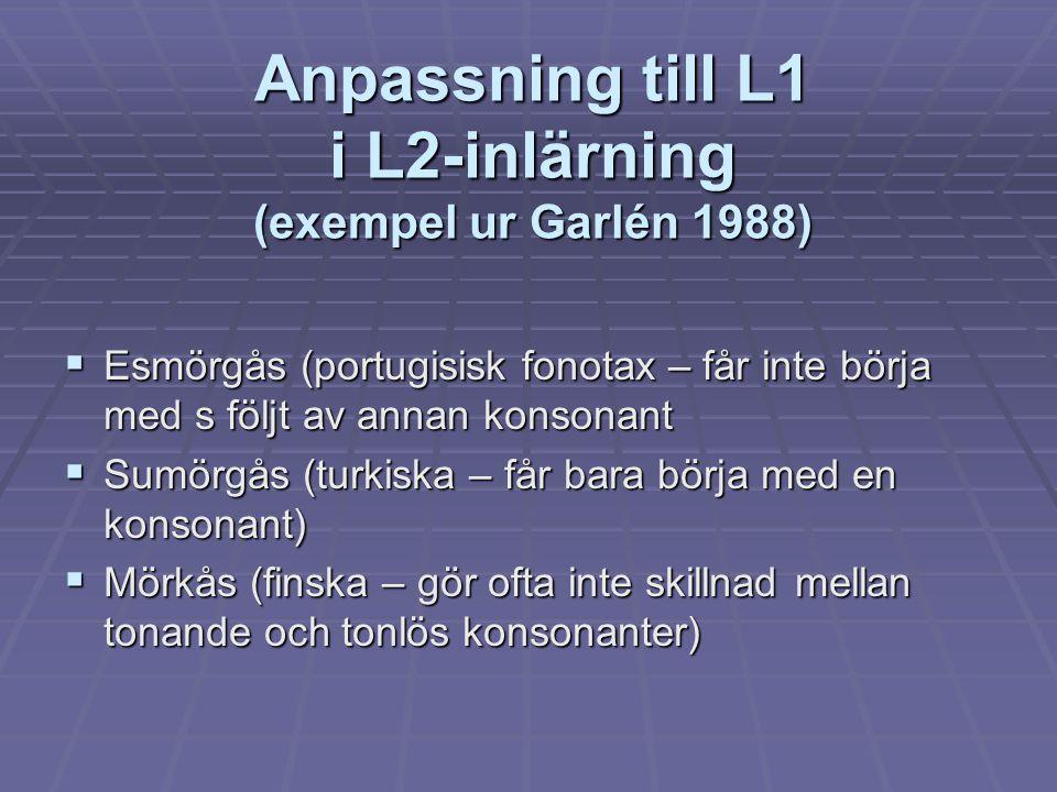 Anpassning till L1 i L2-inlärning (exempel ur Garlén 1988)  Esmörgås (portugisisk fonotax – får inte börja med s följt av annan konsonant  Sumörgås