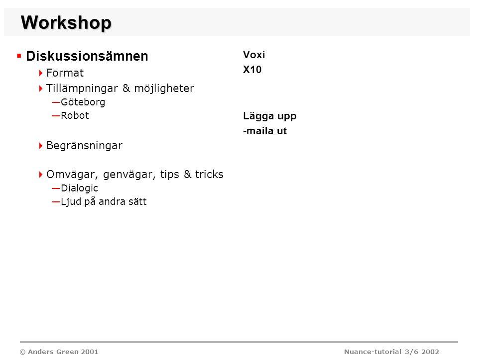 © Anders Green 2001 Nuance-tutorial 3/6 2002 Workshop  Diskussionsämnen  Format  Tillämpningar & möjligheter —Göteborg —Robot  Begränsningar  Omvägar, genvägar, tips & tricks —Dialogic —Ljud på andra sätt Voxi X10 Lägga upp -maila ut