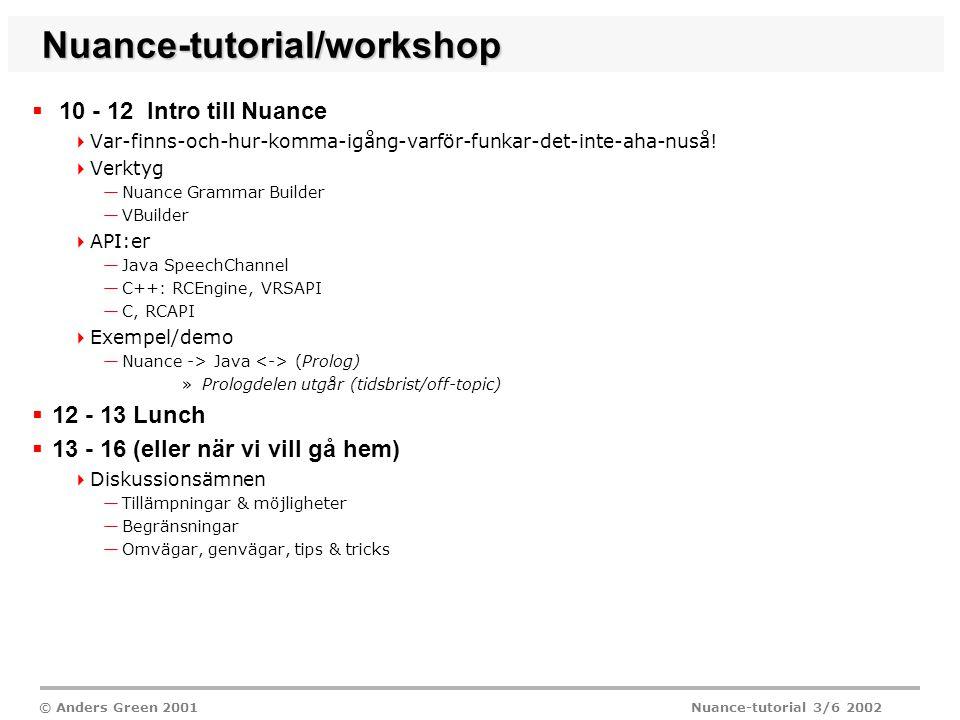 © Anders Green 2001 Nuance-tutorial 3/6 2002 Nuance-tutorial/workshop  10 - 12 Intro till Nuance  Var-finns-och-hur-komma-igång-varför-funkar-det-inte-aha-nuså.