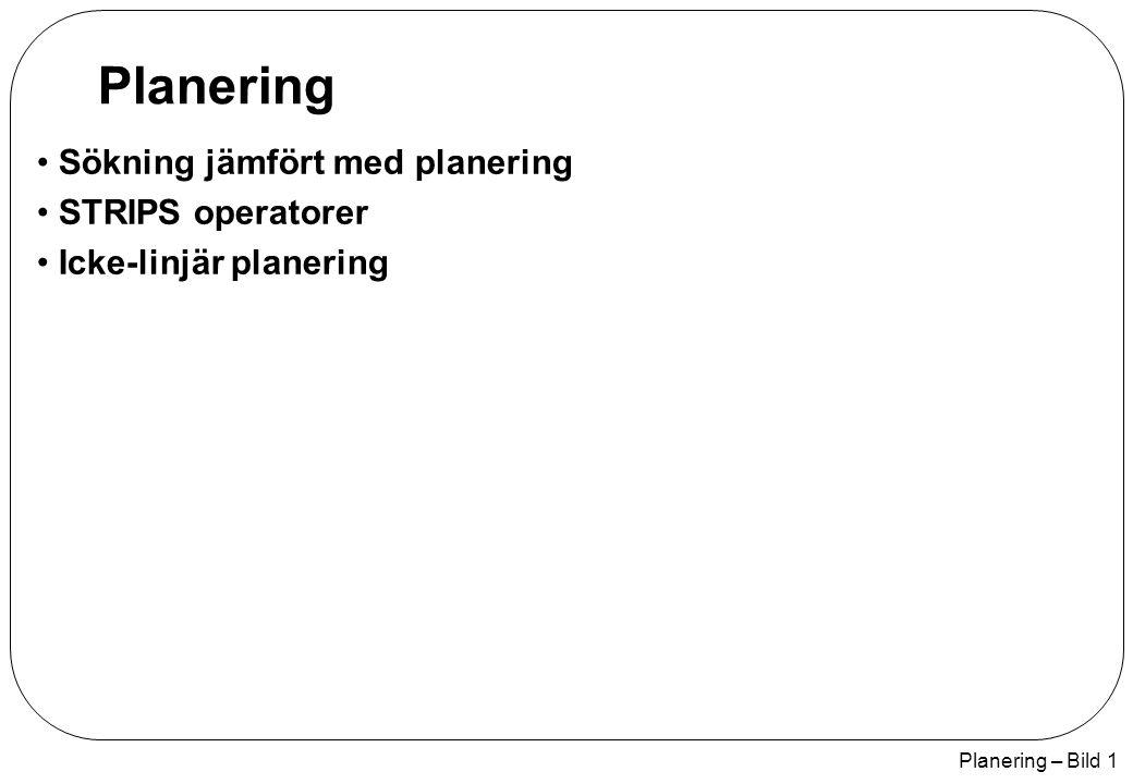 Planering – Bild 2 Sökning jämfört med planering Antag att vi har uppgiften att köpa mjölk, bananer och en borrmaskin Standard sök algoritmer kommer att misslyckas: Eftersom heuristik / måltest inadekvat