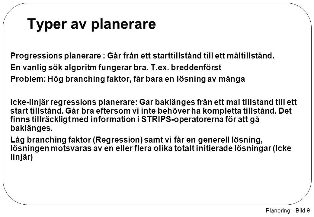 Planering – Bild 30 Plan(Steps: { S1: Op(H: Start, E: At(Home), Sells(HWS, Drill), Sells(SM, Milk), Sells(SM, Bananas)), S2: Op(H: Go(HWS), V: At(Home), E: At(HWS), ¬At(Home)), S3: Op(H: Buy(Drill), V: At(HWS), Sells(HWS, Drill), E: Have(Drill)), S4: Op(H: Go(SM), V: At(HWS), E: At(SM), ¬At(HWS)), S5: Op(H: Buy(Milk), V: At(SM), Sells(SM, Milk), E: Have(Milk)), S6: Op(H: Buy(Bananas), V: At(SM), Sells(SM, Bananas), E: Have(Bananas)), S7: Op(H: Go(Home), V: At(SM), E: At(Home), ¬At(SM)), S8: Op(Handling: Finish, Villkor: Have(Drill), Have(Milk), Have(Bananas), At(Home)} Orderings: {S1 < S2 < S3 < S4 < S5, S6 < S7 < S8} Links:{S1--At(Home)-->S2, S2--Go(HWS)-->S3, S2--At(HWS)-->S4, S4--Go(SM)-->S5, S4--Go(SM)-->S6, S4-- Go(SM)-->S7, S1--Sells(HWS, Drill)-->S3, S1--Sells(SM, Milk)-->S5, S1--Sells(SM, Bananas)-->S6, S3-- Have(Drill)-->S8, S5--Have(Milk)-->S8, S6--Have(Bananas)-->S8, S7--Go(home)-->S8 } Genom att vi går till HWS före SM (Demotion av HWS) så undviker vi konflikter.