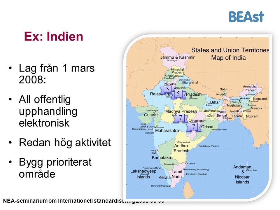 NEA-seminarium om Internationell standardisering 2008-05-06 13 Ex: Indien Lag från 1 mars 2008: All offentlig upphandling elektronisk Redan hög aktivi
