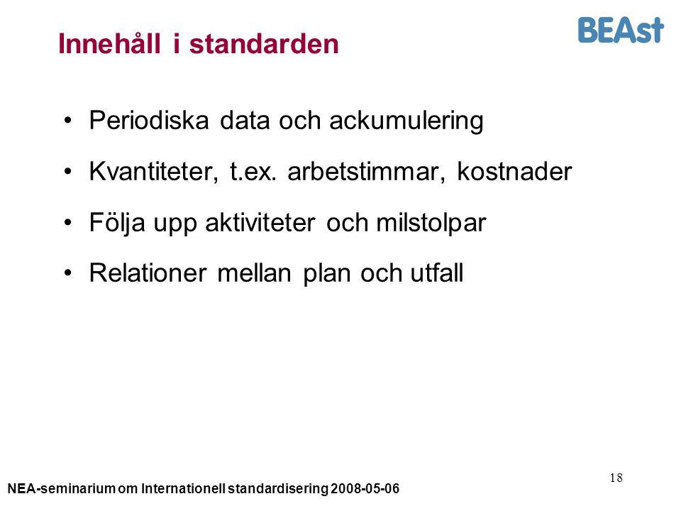 NEA-seminarium om Internationell standardisering 2008-05-06 18 Innehåll i standarden Periodiska data och ackumulering Kvantiteter, t.ex. arbetstimmar,