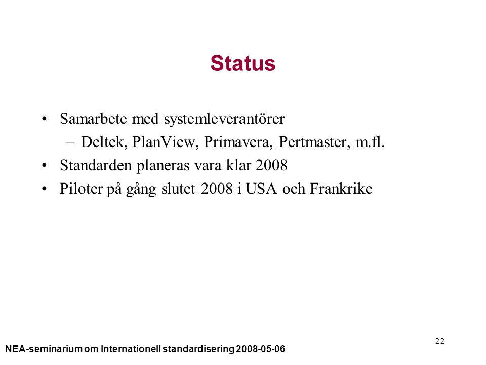 NEA-seminarium om Internationell standardisering 2008-05-06 22 Status Samarbete med systemleverantörer –Deltek, PlanView, Primavera, Pertmaster, m.fl.