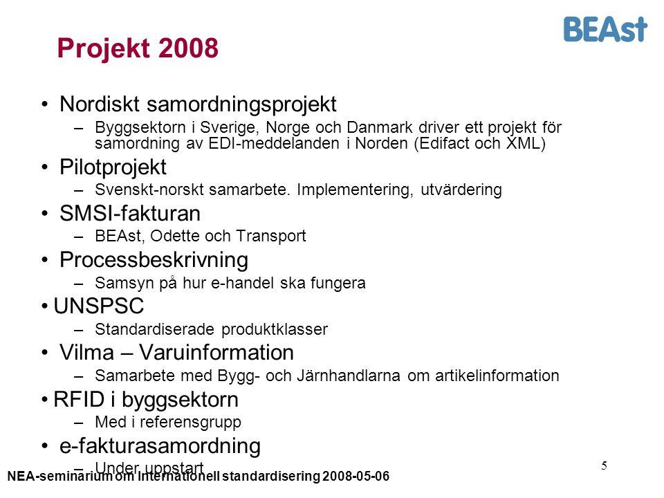 NEA-seminarium om Internationell standardisering 2008-05-06 5 Projekt 2008 Nordiskt samordningsprojekt –Byggsektorn i Sverige, Norge och Danmark driver ett projekt för samordning av EDI-meddelanden i Norden (Edifact och XML) Pilotprojekt –Svenskt-norskt samarbete.