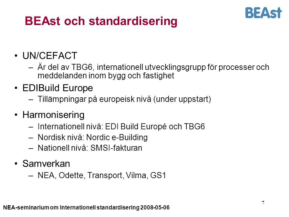 NEA-seminarium om Internationell standardisering 2008-05-06 7 BEAst och standardisering UN/CEFACT –Är del av TBG6, internationell utvecklingsgrupp för processer och meddelanden inom bygg och fastighet EDIBuild Europe –Tillämpningar på europeisk nivå (under uppstart) Harmonisering –Internationell nivå: EDI Build Europé och TBG6 –Nordisk nivå: Nordic e-Building –Nationell nivå: SMSI-fakturan Samverkan –NEA, Odette, Transport, Vilma, GS1