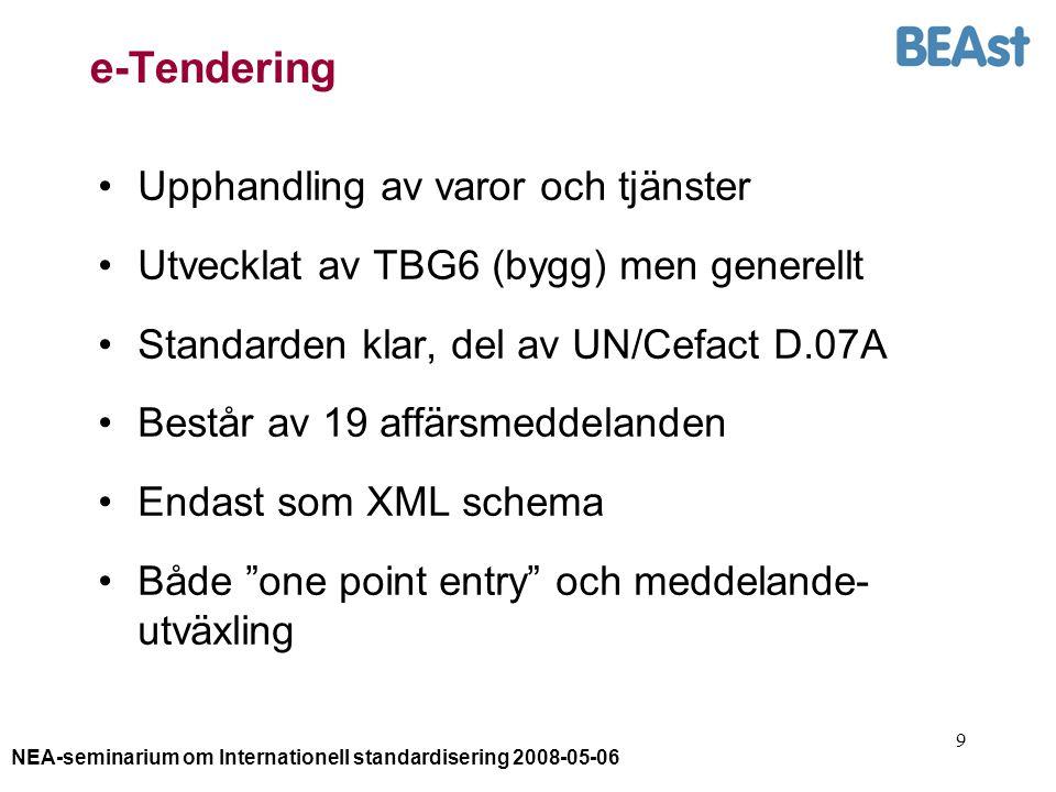 NEA-seminarium om Internationell standardisering 2008-05-06 9 e-Tendering Upphandling av varor och tjänster Utvecklat av TBG6 (bygg) men generellt Standarden klar, del av UN/Cefact D.07A Består av 19 affärsmeddelanden Endast som XML schema Både one point entry och meddelande- utväxling