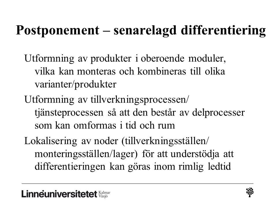 Postponement – senarelagd differentiering Utformning av produkter i oberoende moduler, vilka kan monteras och kombineras till olika varianter/produkte
