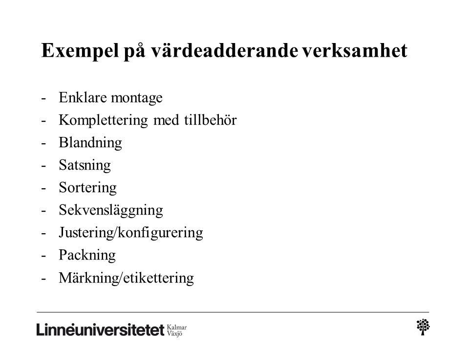 Exempel på värdeadderande verksamhet -Enklare montage -Komplettering med tillbehör -Blandning -Satsning -Sortering -Sekvensläggning -Justering/konfigu