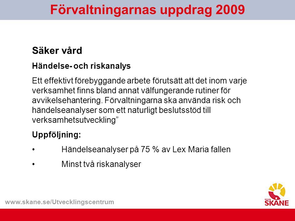 www.skane.se/Utvecklingscentrum Förvaltningarnas uppdrag 2009 Säker vård Händelse- och riskanalys Ett effektivt förebyggande arbete förutsätt att det inom varje verksamhet finns bland annat välfungerande rutiner för avvikelsehantering.