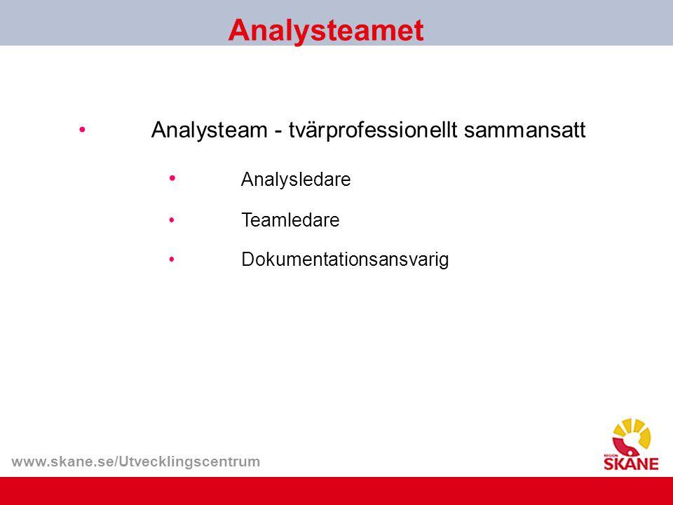 www.skane.se/Utvecklingscentrum Analysteamet Analysledare Teamledare Dokumentationsansvarig Analysteam - tvärprofessionellt sammansatt